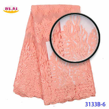 Sequin Embroidery Lace, Nigerian Blush Pink Lace Fabrics, African Lace Fabric 2020 With Flower MR3133B