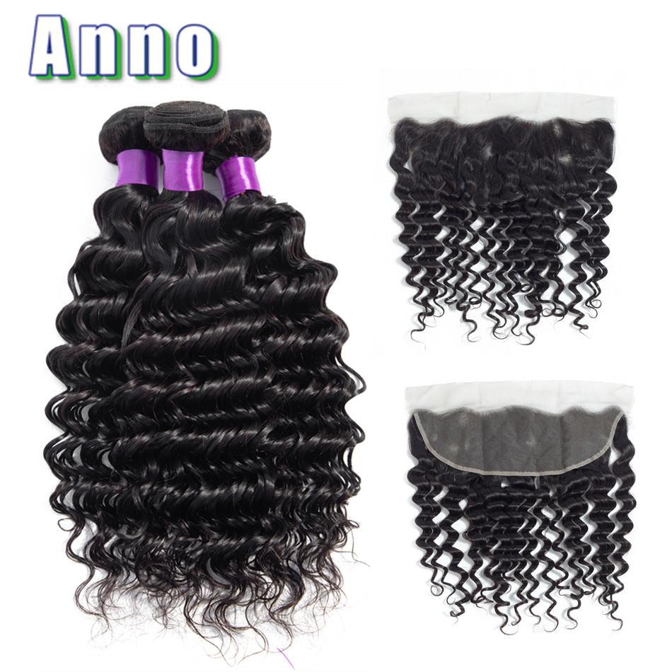 Annowig Deep Wave Bundles With Closure Natural Color Brazilian Hair Weaves Non Remy Human Hair 3