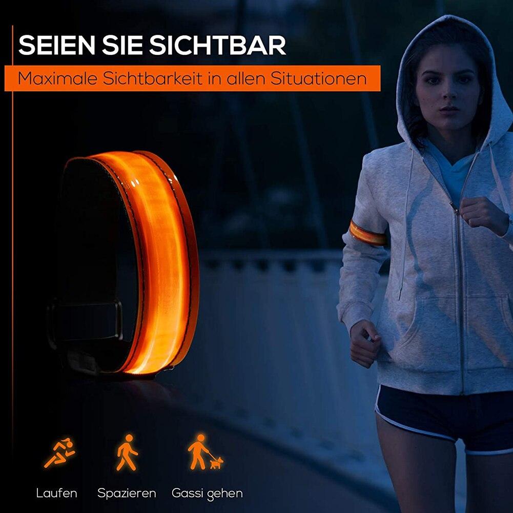 Зарядка через USB светодиодный световой ночных пробежек браслет на предплечье Спорт на открытом воздухе Напульсники бег светильник зауженн...