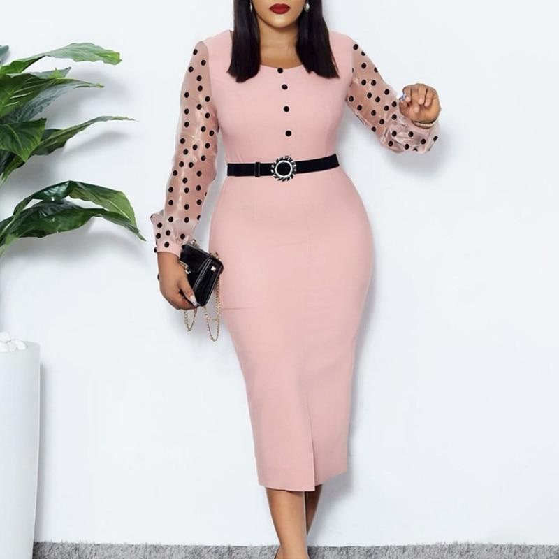 Pink Long Sleeves Polka Dot Dress