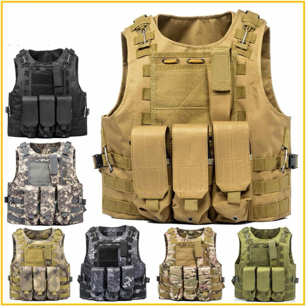 Airsoft Military Tactical Vest Molle Combat Assault Plate Carrier Tactical Vest 7 Colors CS Outdoor Clothing Hunting Vest