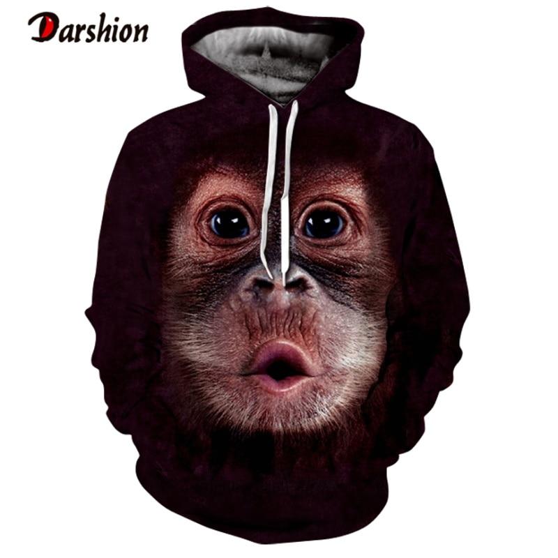Men's Hoodies Sweatshirt Men Funny 3D Orangutan Fashion Brand Plus Size XXS-4XL Animal Printed Hoodie For Male Unisex Pullovers
