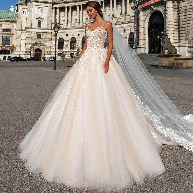 Adoly Mey Design Romantic Sweetheart Neck Appliques A-Line Wedding Dress 2020 Luxury Beaded Spaghetti Straps Princess Bride Gown
