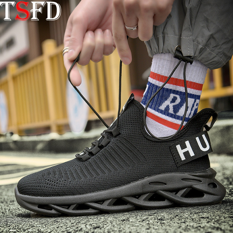 Lightweight Men's Running Shoes Black Sneakers Flying Weave Sport Shoe Men's Sports Walking Thick Bottom Summer Men's Shoes V11