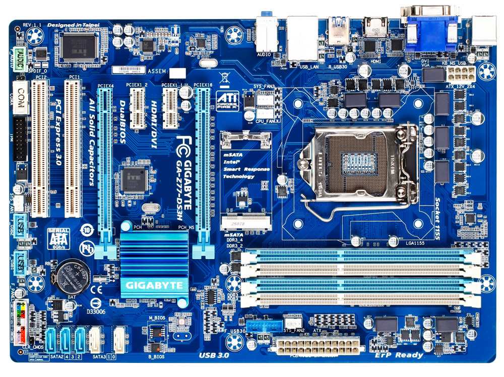 Used GIGABYTE <font><b>motherboard</b></font> GA-<font><b>Z77</b></font>-DS3H supports LGA1155 socket processor and dual channel memory technology image