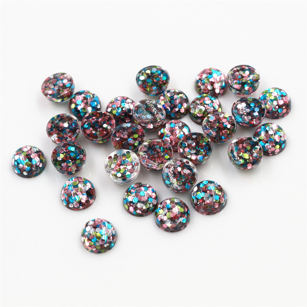 New Fashion 8mm 10mm 40pcs Blue Pink Green Colors Bright Wafer Style Flat Back Resin Cabochons For Bracelet Earrings Accessories