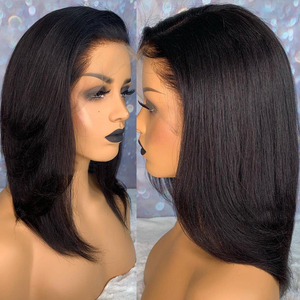 Прямые волосы для чернокожих женщин Blunt Cut светильник Yaki 13X6, короткий Боб, полный парик из человеческих волос на сетке спереди, 360, парик на се...