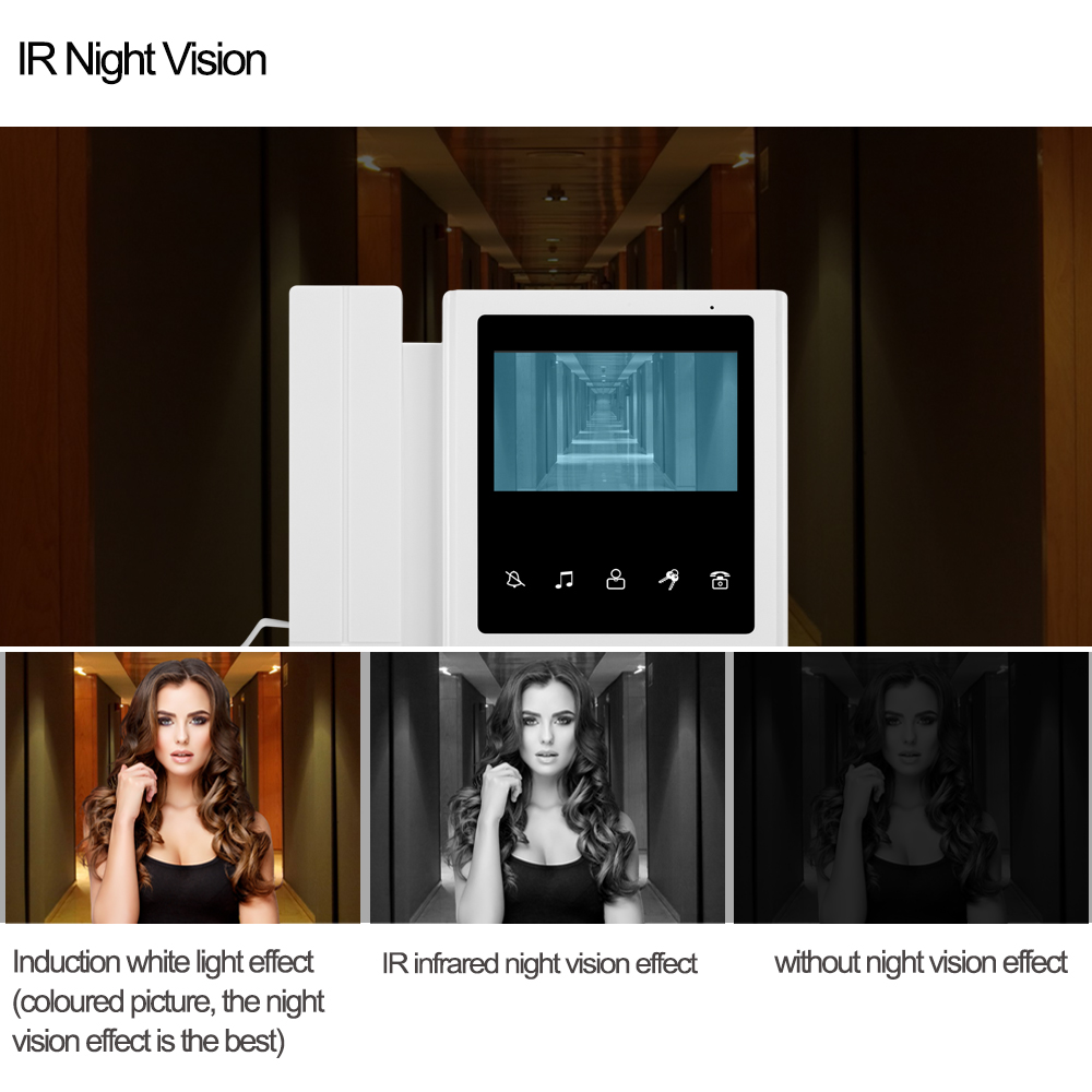4.3 inch Home Intercom Video Door Phone Video Intercom Doorbell Doorphone Waterproof 700TVL Camera Two-way Audio IR Night Vision