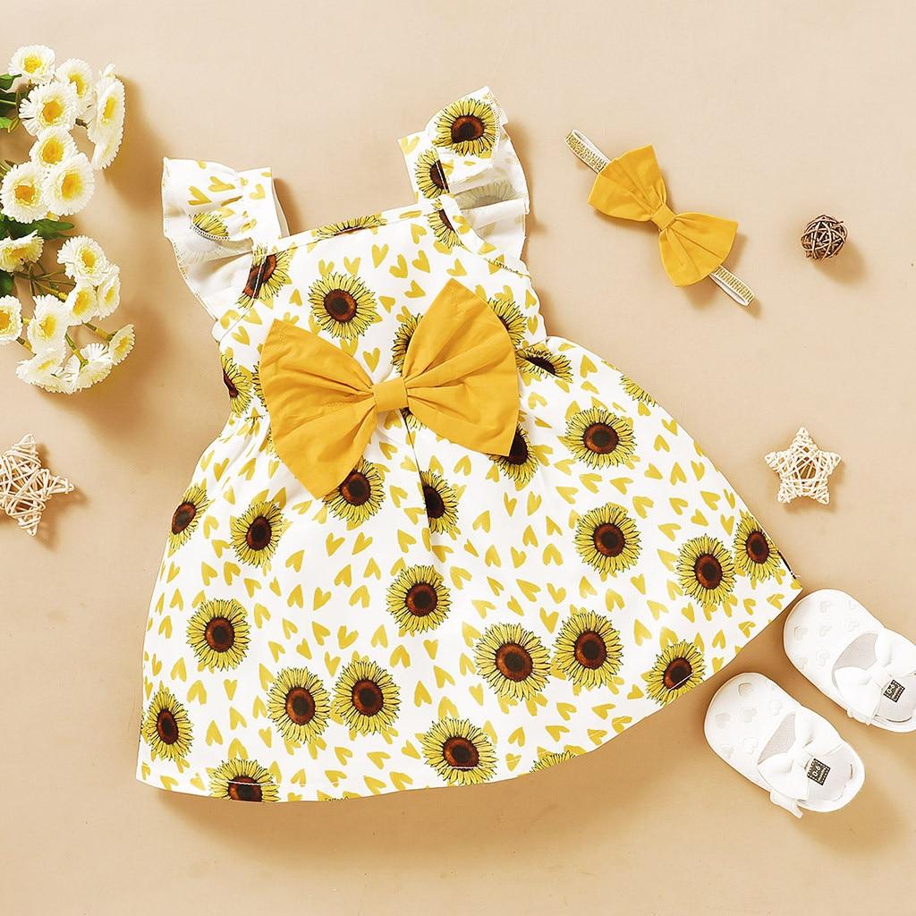 Verão bebê recém-nascido flor roupas da criança do bebê meninas voar manga girassol floral impressão princesa vestido + headbands roupas infantis