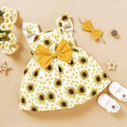 Летняя одежда для новорожденных, с цветочным принтом, платье принцессы с подсолнухами и рукавами-фонариками + повязки на голову, Одежда для ...