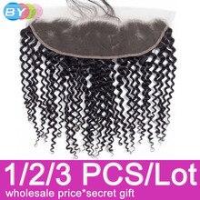 על ידי שיער 13x4 תחרה פרונטאלית סגירת קינקי קרלי תחרה פרונטאלית 8 22 אינץ אוזן לאוזן Cheveux humain רמי שיער שוויצרי תחרה Frotnal