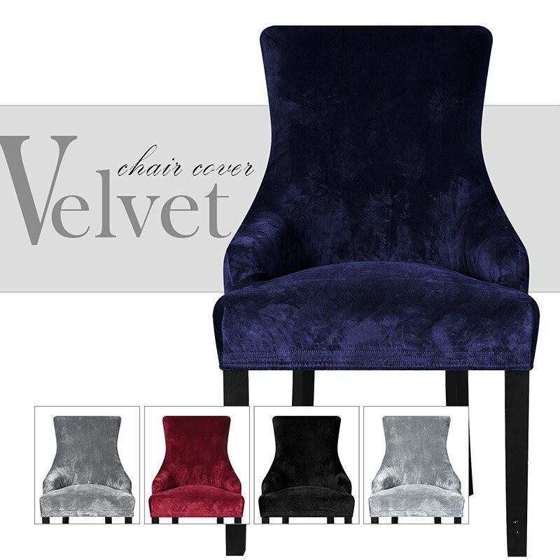 Sloping Arm Big Size Velvet Fabric, Velvet Wing Chair Cover