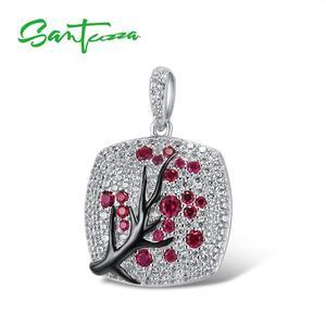 Image 2 - SANTUZZA Silver Pendant For Women 925 Sterling Silver Sparkling Pink Cherry Tree CZ Delicate Fashion подвеска кулон Fine Jewelry