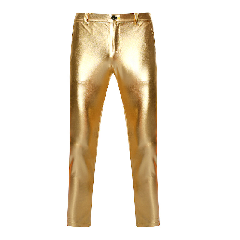 Motorcycle PU Leather Pants Men Brand Skinny Shiny Gold Coated Metallic Pants Trousers Nightclub Stage Perform Pants For Singers