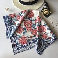 67*67cm Luxury Brand 100% Twill Silk Scarf Multicolor Horse Square Scarf Design Print Kerchief Woman Neck Shawl Wraps Echarpe