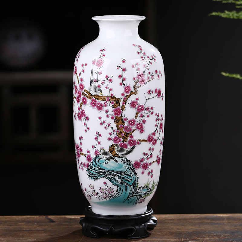Jingdezhen Keramik Vas Dekorasi Bunga Putih Pengaturan Rumah Tangga Ruang Tamu Modern Sederhana Dekorasi Meja