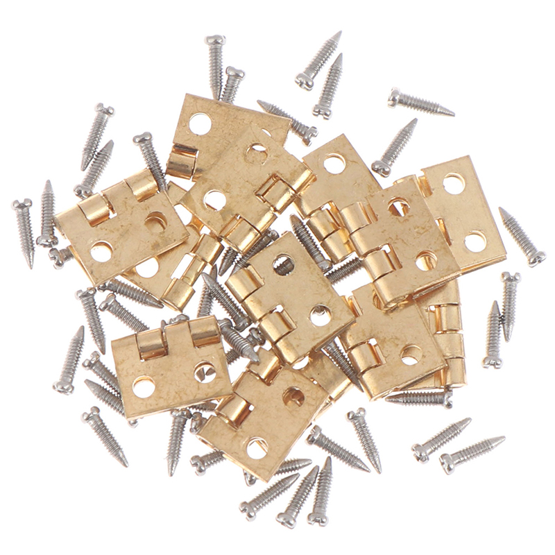 12Set Mini Metal Hinge Golden For 1/12 House Miniature Cabinet Furniture Brass Hinge Dollhouse Miniature Cabinet Closet