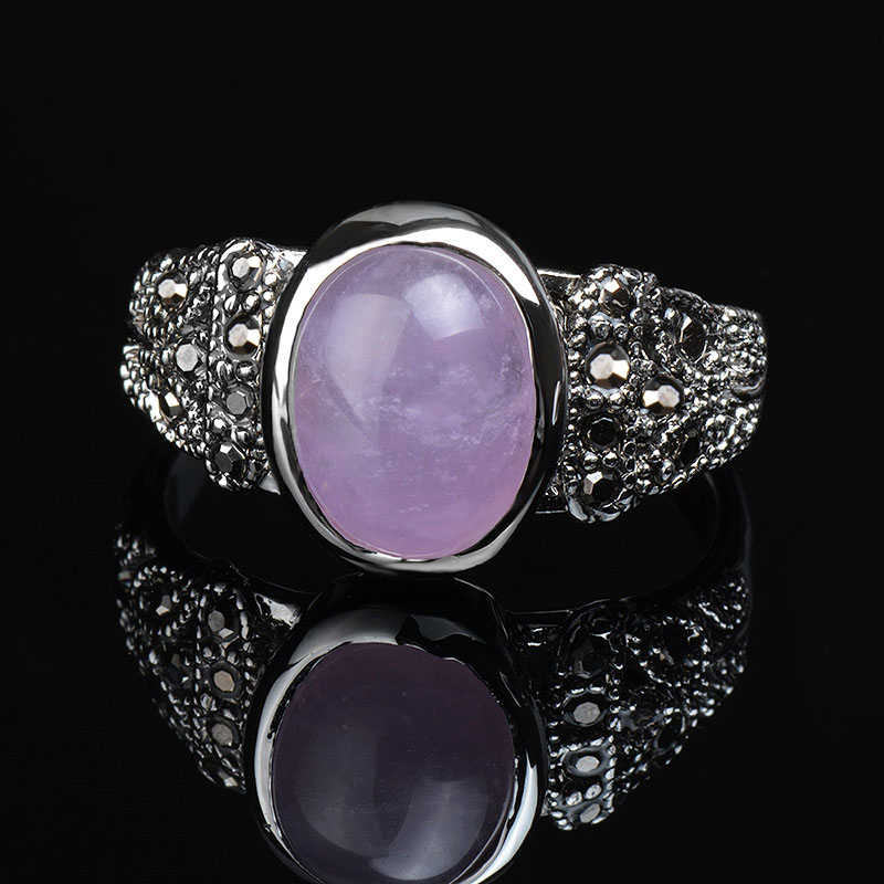 K's Gadgets แฟชั่น Vintage แหวนนิลสามสีสีเงินรูปไข่ Vintage แหวนหินสีเขียวหินสีชมพูแหวน