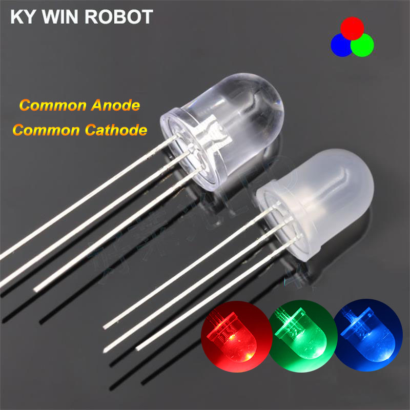 50pcs 10mm Round RGB Common Anode Clear Lens LED Diode Tricolor