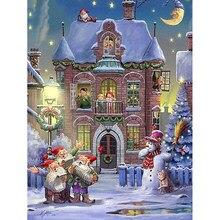 5D Рождественский Набор для вышивания крестиком Diy Алмазная Картина Пейзаж камни в форме ромба украшения дома набор поделок ногтей вышитые к...
