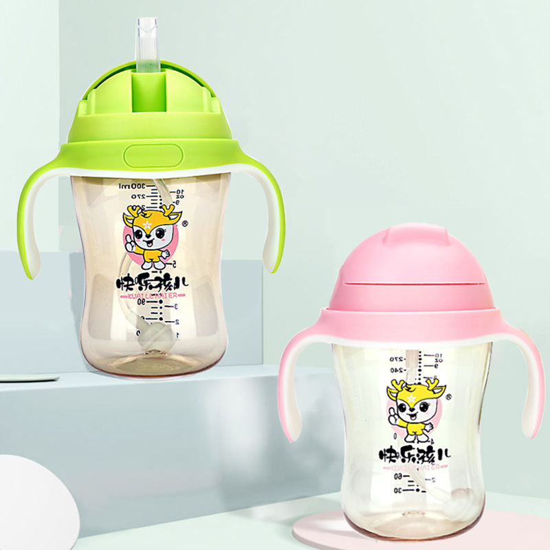 Happy Baby PPSU Cup With Straw Children Baby Training Cup Sippy Cup With Handle Straw Cup