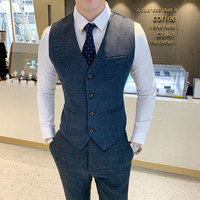 Autumn men's plaid suit vest and pants business wedding dress men's vest trousers suit size S 5XL