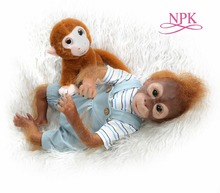 NPK New 21inch 52CM 100% handmade reborn Monkey very soft silicone vinyl flexible Collectible art doll