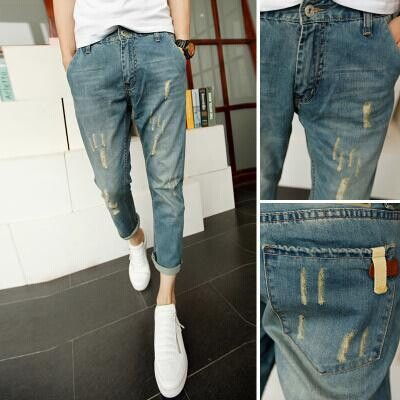 MEN'S Jeans Men's Korean-style Slim Fit Capri Pants Men Skinny Pants Ripped Pants MEN'S Jeans Fashion