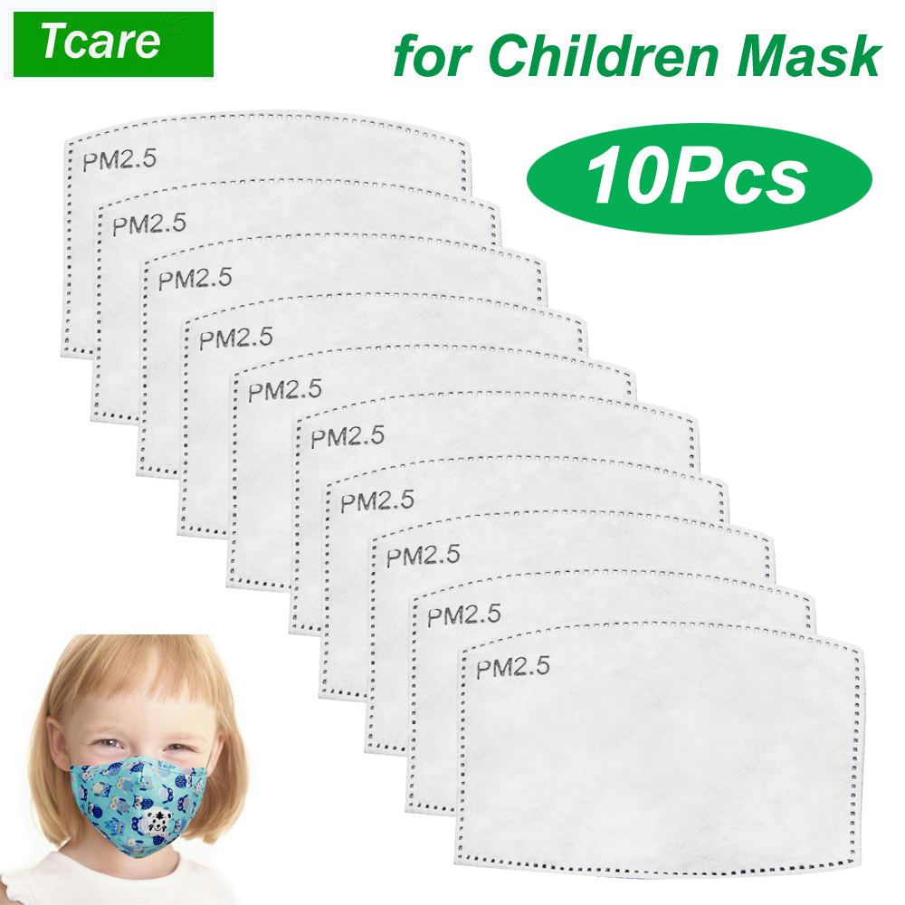 10Pcs/Set PM2.5  Mouth Mask Replaceable Filter-slice 5 Layers Non-woven Child Kids Activated Carbon Filter (4.7*3inch)