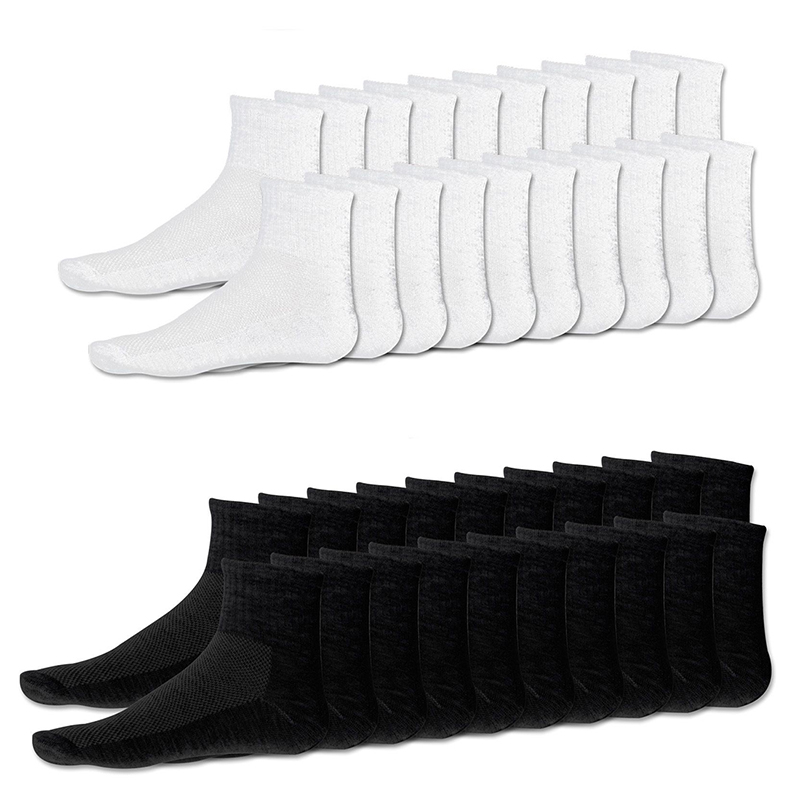 Quality 20 X Pairs Mens Cotton Rich Sport Socks Work Sports Socks Size 6-10 White & Black