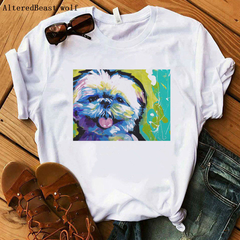 Shih Tzu Bright Colorful Pop <font><b>Dog</b></font> <font><b>Art</b></font> Mama T-Shirt Harajuku Love Mom T Shirt Women Ulzzang Graphic <font><b>Tshirt</b></font> Summer Female Clothes image
