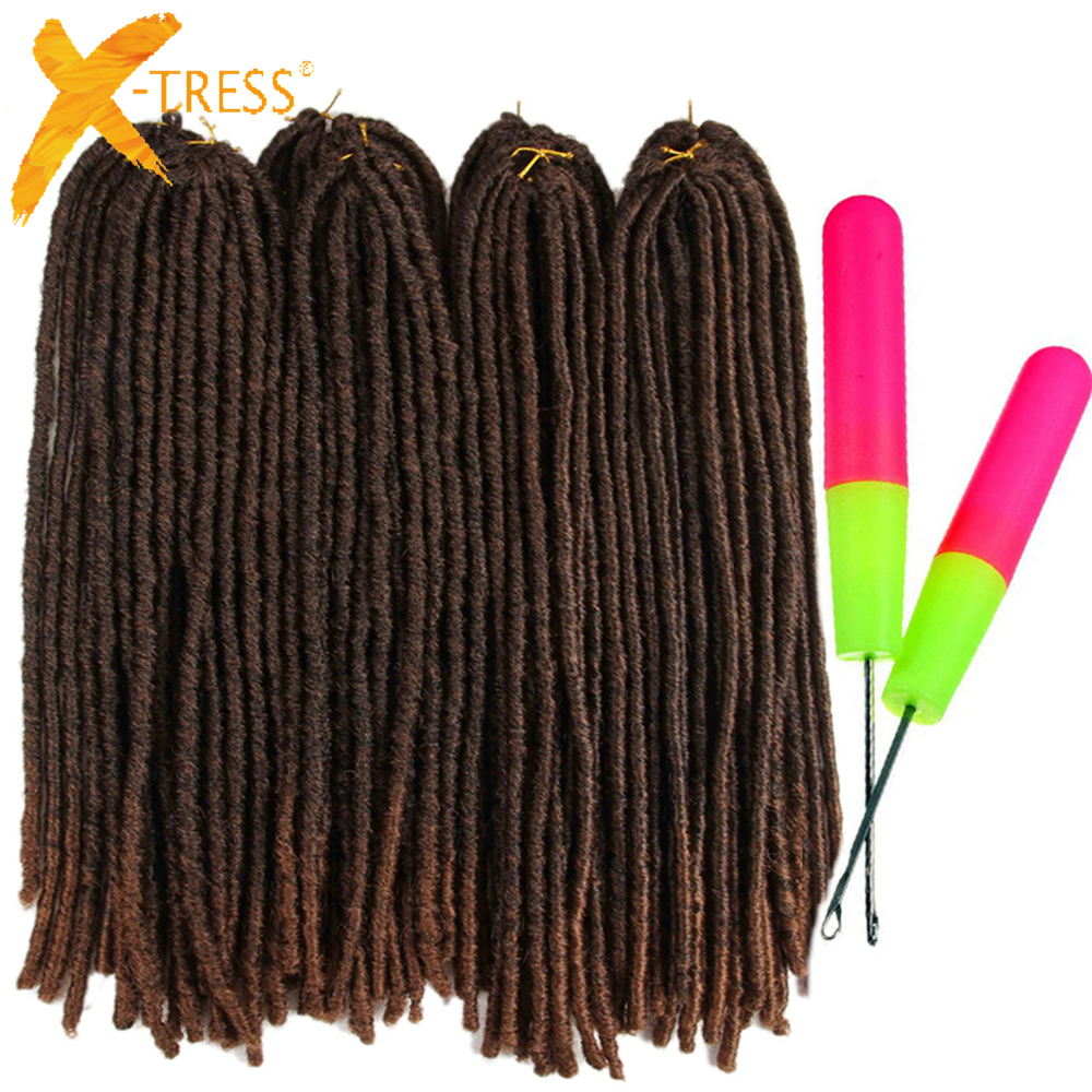 X-TRESS 18-26inch Soft Dreadlocks Crochet Braids Jumbo Dread Hairstyle Ombre Color Synthetic Faux Locs Braiding Hair Extensions