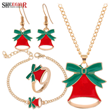 Lovely Enamel Christmas Bell Dangle Earrings Ring Necklace Bracelets Jewelry Set Merry Christmas Bowknot Clock Jewelry Sets Gift merry christmas santa claus jewelry sets lovely enamel father christmas dangle earrings ring necklace bracelets jewelry set gift