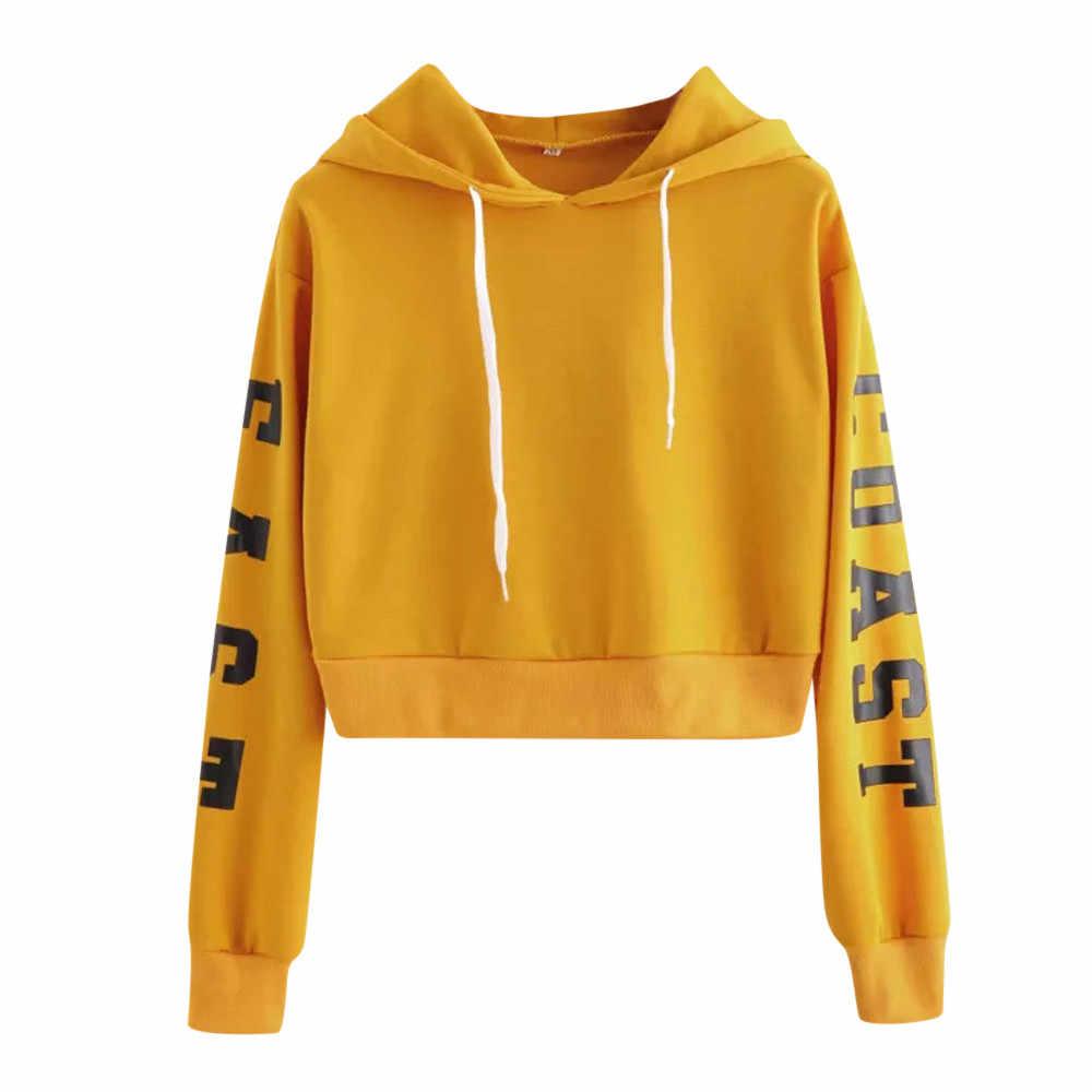 스웨터 여성 핑크 편지 긴 소매 hoody 스웨터 스웨터 탑스 하라주쿠 블라우스 후드 자른 XS-XL Dropship Z0806