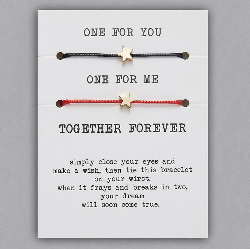 2 шт./компл. Сердце Звезда браслеты с крестообразной подвеской один для вас один для меня красная веревка плетение пара браслет для мужчин женщин карточка пожеланий - Окраска металла: BR18Y0712-1