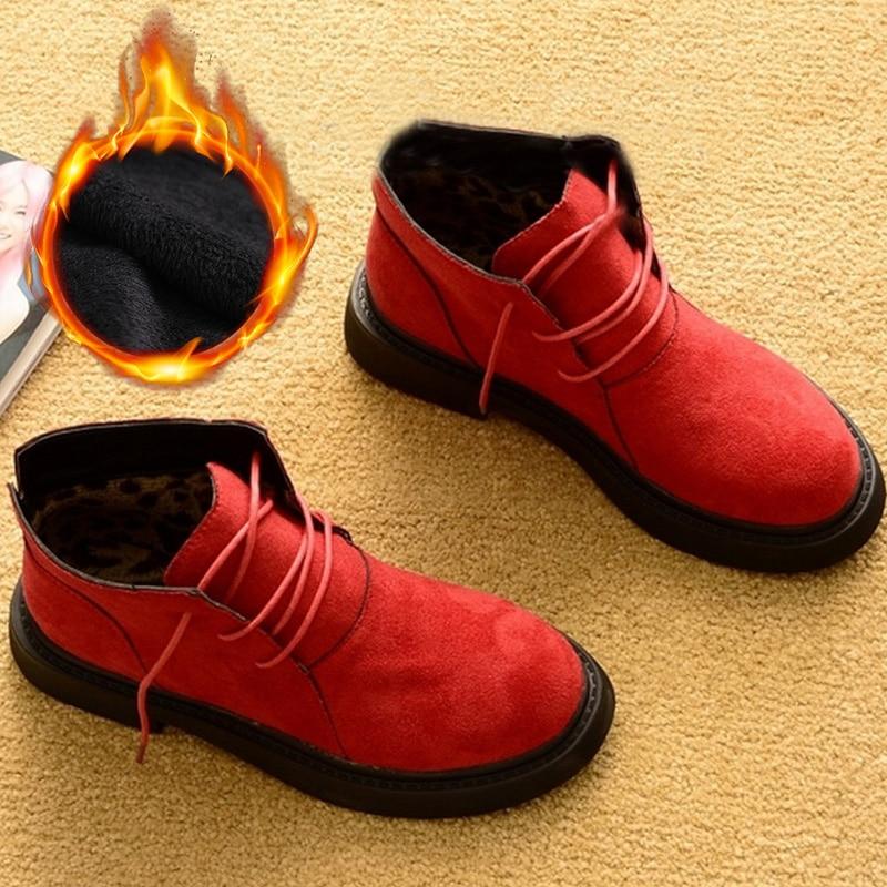 Новая осенне зимняя обувь; женские зимние ботинки; теплая плюшевая обувь; женская обувь на холодную зиму; Модные женские ботильоны; женские ботинки-in Полусапожки from Обувь