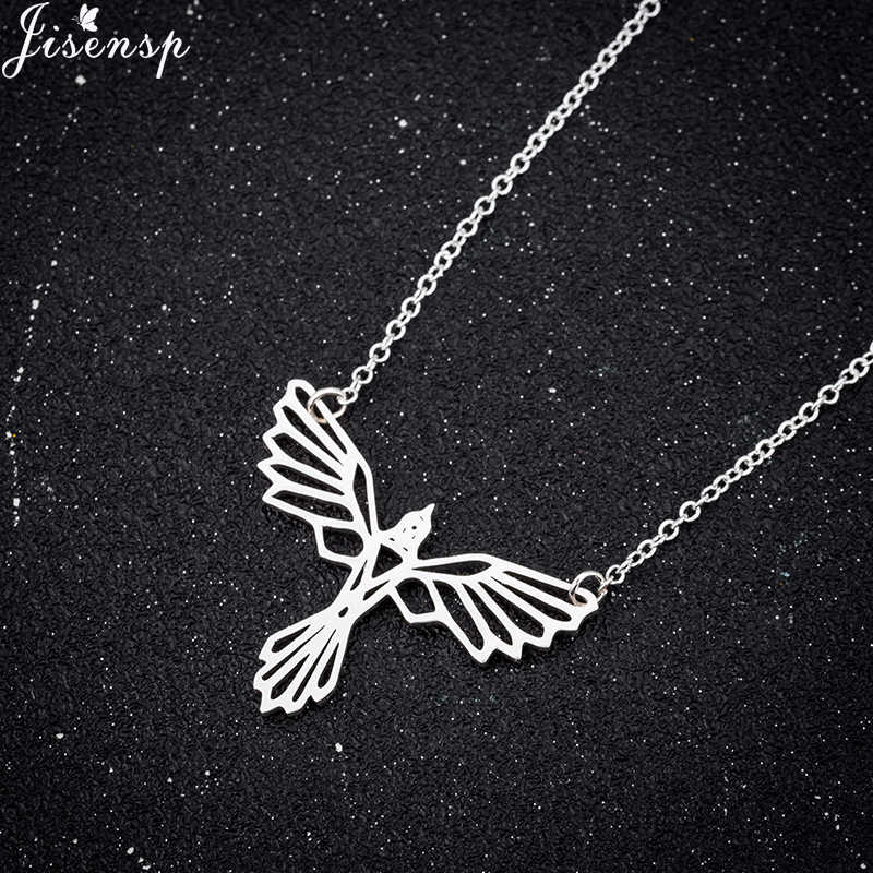 Jisensp Phoenix Choker Necklace Origami Animal Stainless Steel Pendant Necklace for Women Kids Personality Jewelry