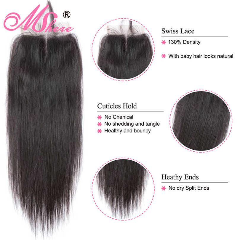 Кружевное Закрытие с пучками человеческих волос Mshere волосы малазийские прямые волосы для наращивания со средней частью закрытие не Реми 4 шт./партия