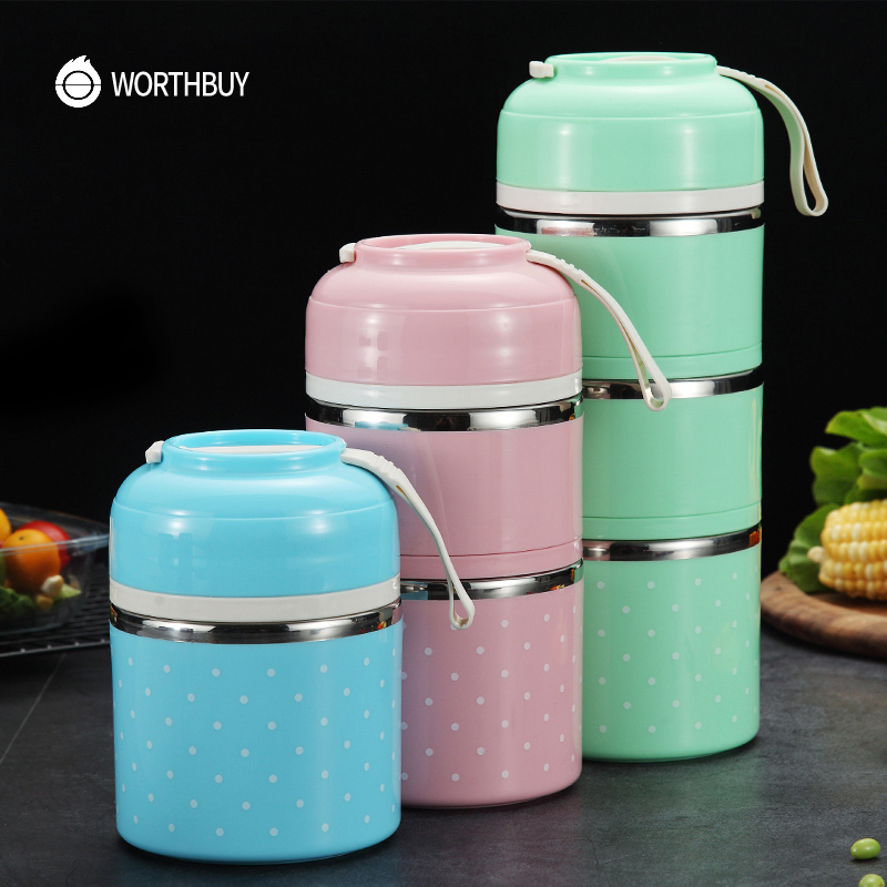 WORTHBUY Drop Shipping Japanese Kids Lunch Box Portable Stainless Steel Bento Box Leak-Proof Food Container Kitchen Lunchbox