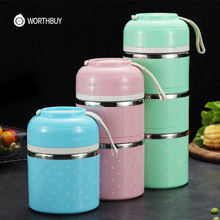 WORTHBUY Drop Shipping Japanse Kinderen Lunchbox Draagbare Rvs Bento Box Lekvrije Voedsel Container Keuken Lunchbox(China)