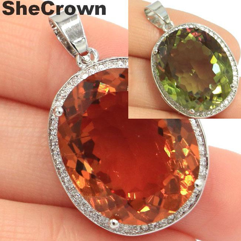 25x20mm Big Oval Gemstone 22x18mm Big Round 20mm Created Color Changing Spinel Zultanite CZ Woman's Jewelry Silver Pendant