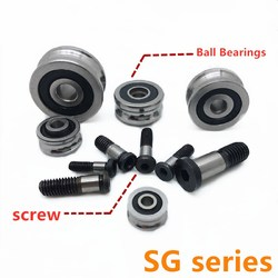 5set/Lot SG15 SG20 SG25 SG66 + M5 M6 M8 Screw Bolts Bearing Steel Pulley Ball Bearings Track Guide Roller Bearing Brand New