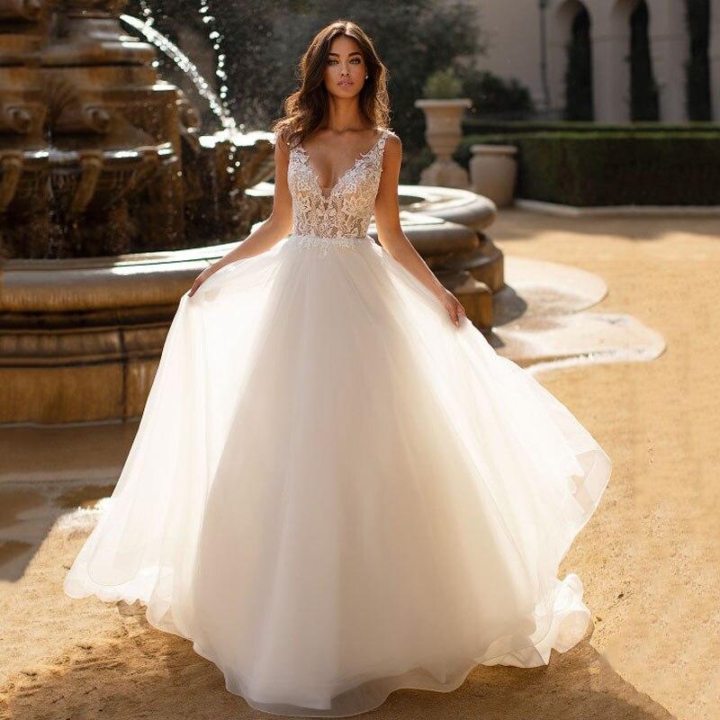 Eightree Lace Wedding Dresses 2020 Appliques Beach Boho Bride Dresses Vestido De Noiva Backless Wedding Gowns Custom Made