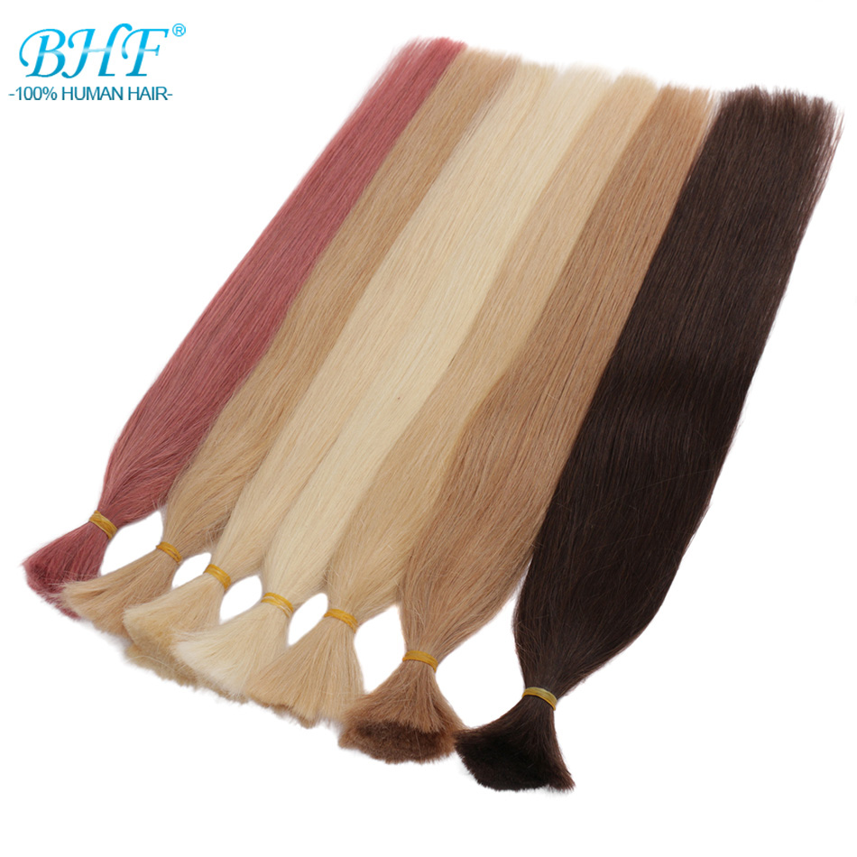 BHF Remy Human Braiding Hair Bulk Straight India Hair 60cm Natural Crochet Braids No Weft Hair Bulk