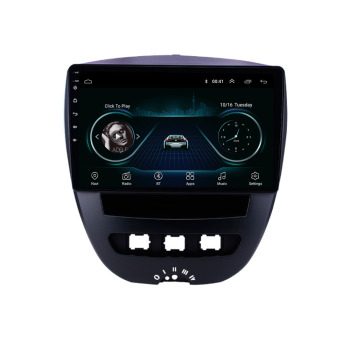 Android 2 Din Car Multimedia Player For Peugeot 107 Toyota Aygo Citroen C1 2005-2014 Head Unit Stereo GPS Navigation BT WIFI image