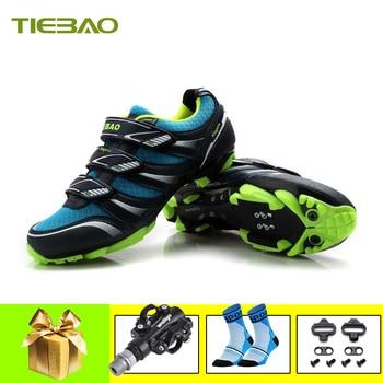 Tiebao profissional mtb ciclismo sapatos de corrida atlético ao ar livre sapatos de bicicleta auto-bloqueio spd cleated pedais tênis 1