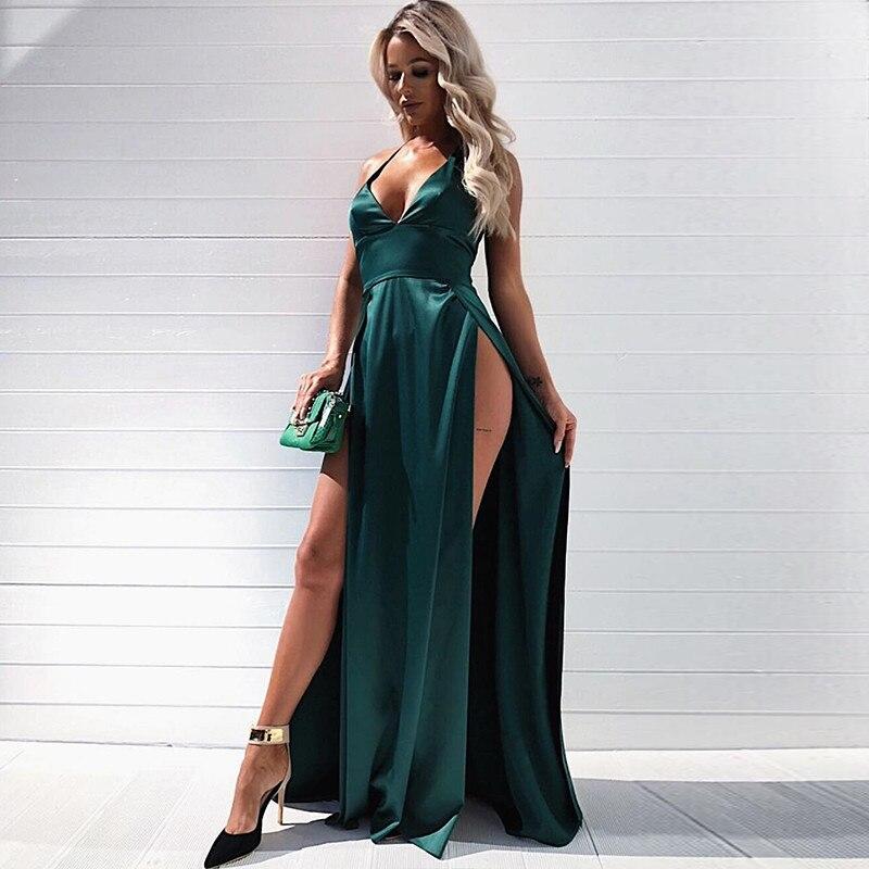 Длинное платье с двойным разрезом, зеленое атласное платье макси без рукавов с V-образным вырезом, летние красные платья до пола