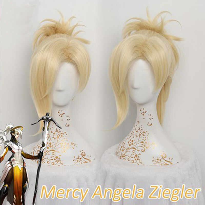 DÜŞÜK Merhamet Peruk Kadınlar Için 35 cm/13.78in Sarışın Isıya Dayanıklı Saç Oyun DÜŞÜK Angela Ziegler Merhamet Cosplay Peruk sentetik Saç