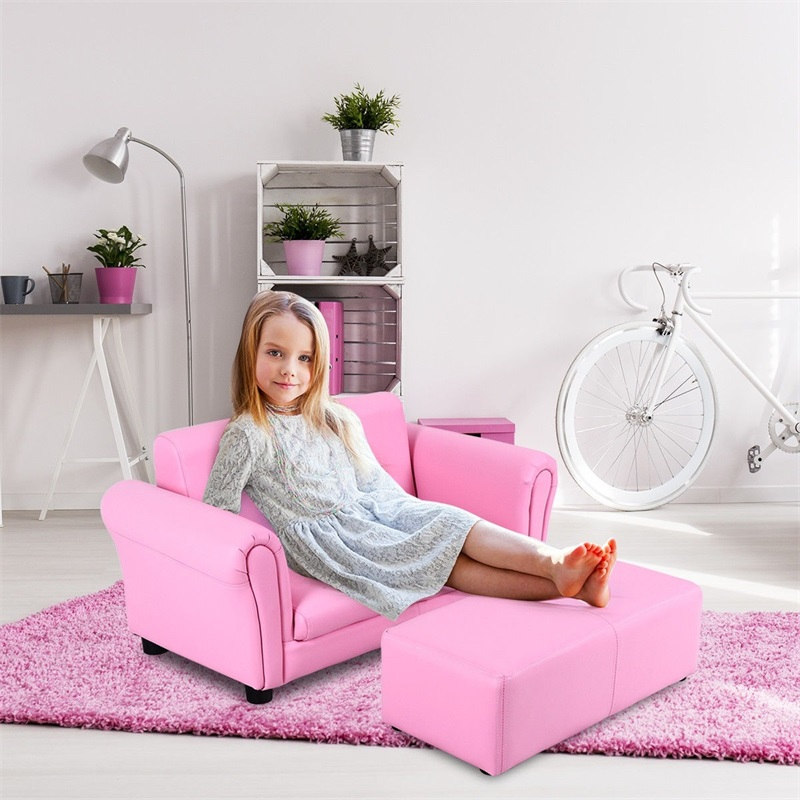Kids Double Sofa With Ottoman Light Weight For Handling Comfortable Material Cozy Kids Sofa Easy To Clean