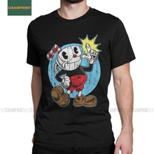 Cuphead T-Shirt for Men Game Mugman Cup Mouse Cartoon Animation Gamer Funny Cotton Tee Shirt Short Sleeve T Shirt Plus Size